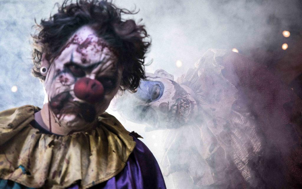 Clown in terrifying costume from Universal's Halloween Horror Nights event. Photo c. Universal Resorts.