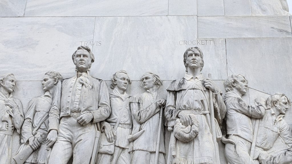 Commander William Travis, former Congressman Davy Crockett and other heroes of the Alamo are lifesize sculptures at the site.