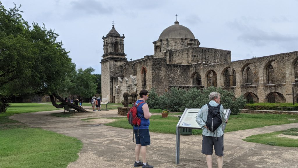 Guide Becky leads our group in exploring Mission San Jose in south San Antonio.