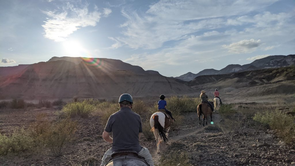 Horseback riding group leaves the Lajitas Equestrian Center for a better view of the Lajitas Mesa in Far West Texas.