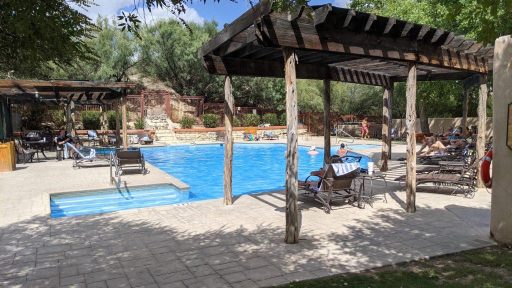 The swimming pool at the Lajitas Resort in Far West Texas.