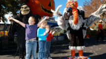 Costumed characters and kids at Worlds of Fun.