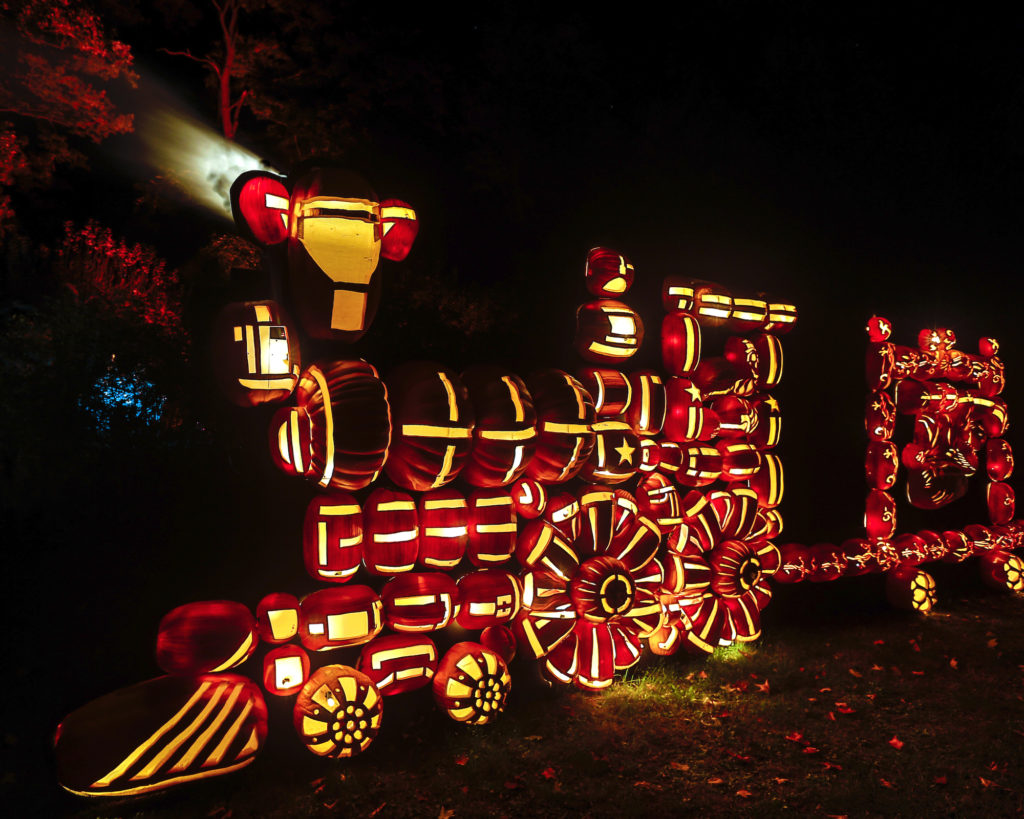 A steam train made out of pumpkins is only treat at the Great Jack O'Lantern Blaze