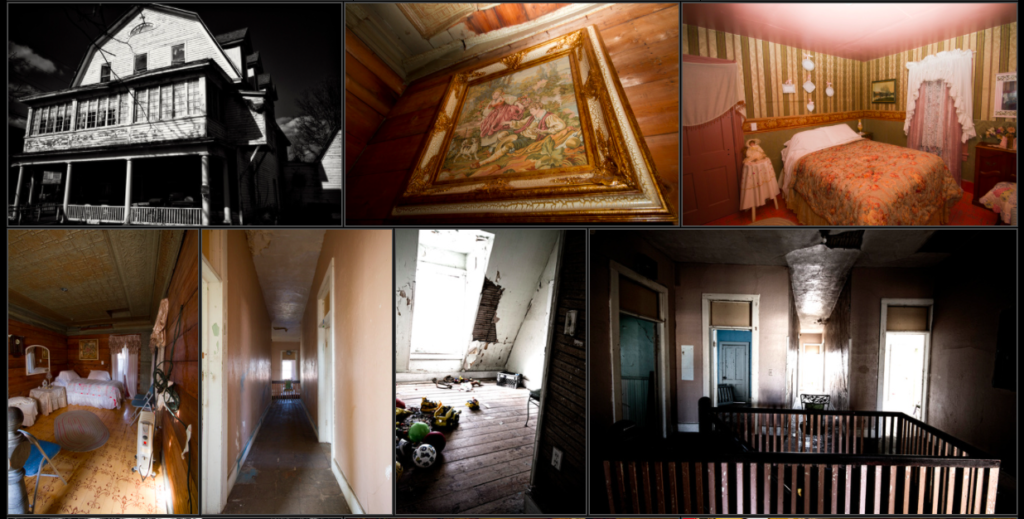 Montage of guest rooms, haunted hallways and the outside of haunted Shanley Hotel, Catskills, New York.