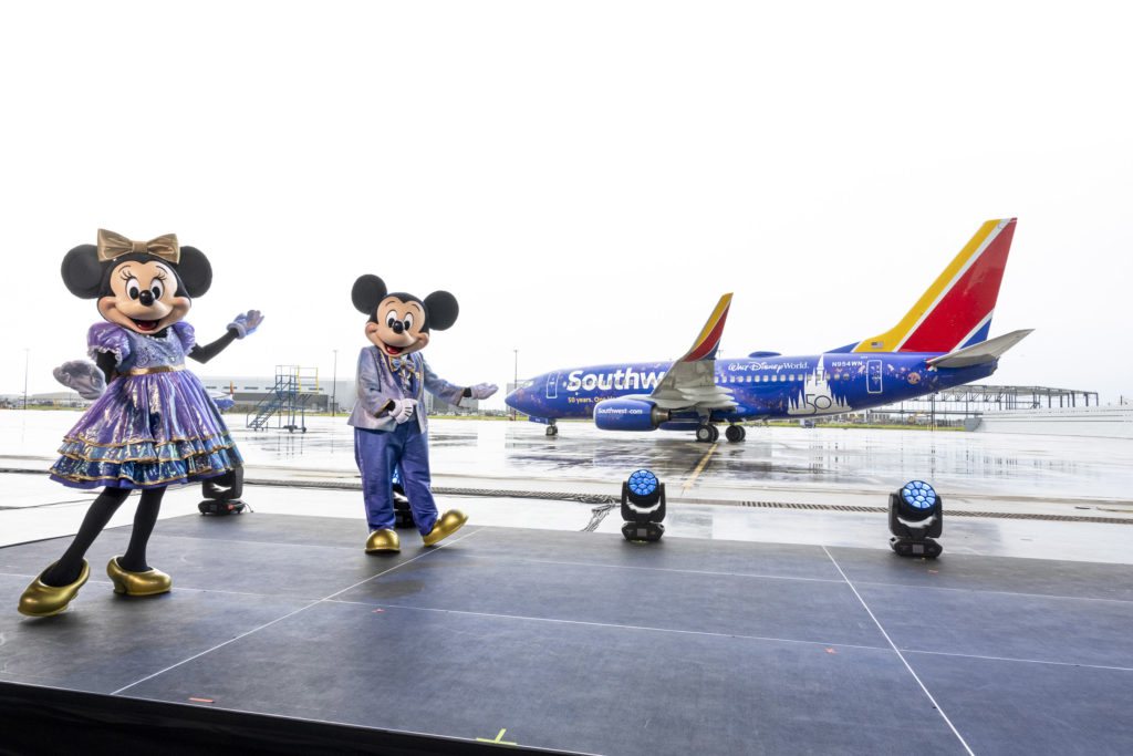Southwest Airlines' new livery includes EARidescent Disney decorations to match the Walt Disney World Resort 50th celebration décor. (Harrison Cooney, photographer)