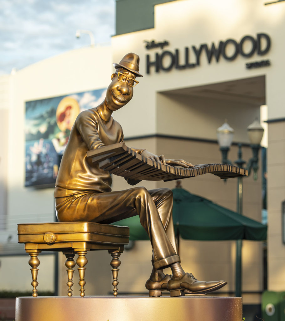 """Joe Gardner from the movie """"Soul"""" at Disney's Hollywood Studios. He's one of the """"Disney Fab 50 Character Collection"""" sculptures appearing in all the parks."""