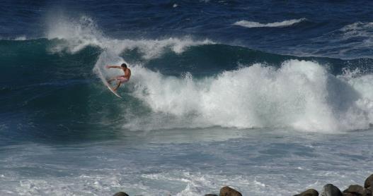 Surfing Keokea Beach on the Big Island