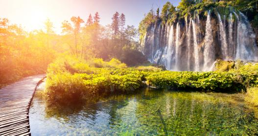 Waterfalls at sunrise at Plitvice Lakes National Park, Croatia