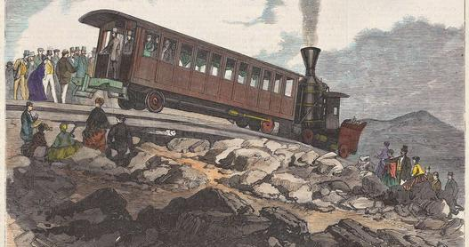 Old engraving of the Mt. Washington Cog Railway in New Hampshire.