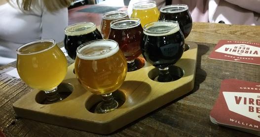 Flights of beer served at Virginia Beer Company, Williamsburg, VA