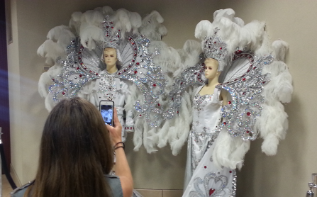 Mardi Gras King and Queen costumes on display in Lake Charles, Louisiana.