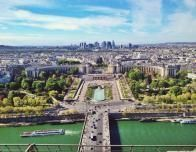 View over Beautiful Paris from Halfway up the Eiffel Tower