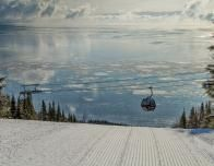 Le Massif gondola with the Saint Lawrence River in the background.