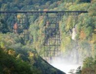 Misty Train Trestle Above Upper Falls