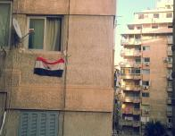 People hung flags outside their apartments as a sign of support of the protestings.