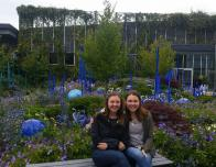 Outdoor sculpture exhibit with bright blue and purple flowers.