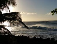 Sunset seen from the pool at Turtle Bay Resort, Oahu.