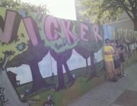 My group and I Attempting to Look Cool in Front of a Mural We Found in Wicker Park.
