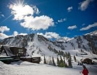 Alta Lodge at Alta, Utah on a bluebird day of skiing.