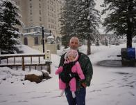 Baby in carrier, Banff, Alberta