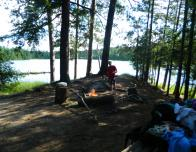 The open camp area, with a beautiful lake view