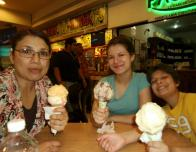 Downtown Monterrey in a Mall Eating Sultana Ice Cream (from left to right: my mom, me, and my brother)