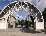 At the archway to Armstrong Park