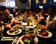 My friends enjoying BBQ burgers at the Hard Rock Cafe in Las Vegas, Nevada at the Strip.
