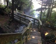 Wooden boardwalk to the hot springs