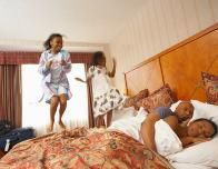 Kids jumping on hotel beds!
