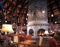 Lobby Fireplace at Fairmont Le Chateau Montebello
