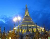 Myanmar pagoda at sunset