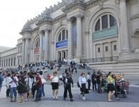 Visitors Climb the Steps to the Metropolitan Museum of Art, New York, NY