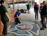 """Outside the """"Ghost Busters"""" Fire House in Greenwich Village"""