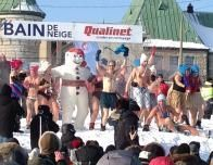 The Snow Bath is a favorite contest, for bathing suit wearers who can dance the longest!