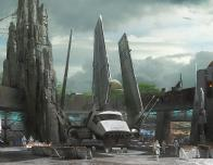 Artists concept of new Star Wars Land coming to Disney parks.