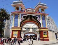 Entrance to Luna Park, the famous amusement park in Melbourne.