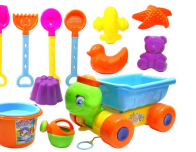 Beach toys for baby play in the sand