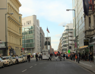 Checkpoint Charlie on Friedrichstrasse, the best known crossing point in the Berlin Wall.
