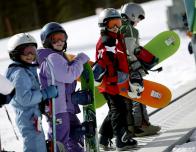 Kids snowboarding class at Breckenridge, where the sport began.