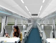 Brightline, Smart Car train interior; photo courtesy Brightline