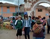 At the Chinchero market, the highest elevated area of the Sacred Valley