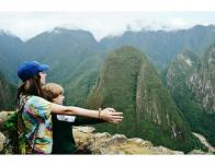 Overlooking a valley with my brother from the side of Machu Picchu