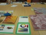Learning acrylic painting in a summertime, New Brunswick arts workshop.