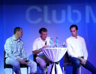 L to R: Patrick Mitchell, Henri Giscard d'Estaing, Xavier Mufraggi of Club Med's senior management in Cancun.