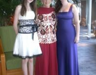 Author and Granddaughters Dressed Up for Dinner