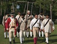 Costumed Brothers in Arms parade at Colonial Williamsburg.