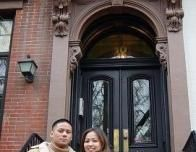 Author Glen with Michelle on a New York City Brownstone Stoop