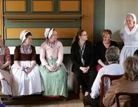 Panel of women discuss employment opportunities at Colonial Williamsburg.