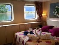 Cabin aboard a CroisiEurope river cruise ship.